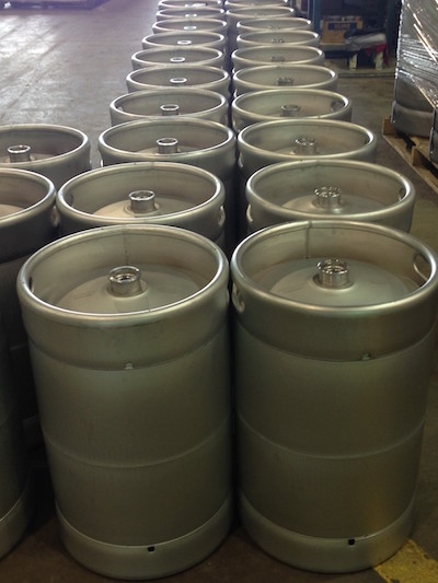 Corny Kegs for home brewing ordered in rows