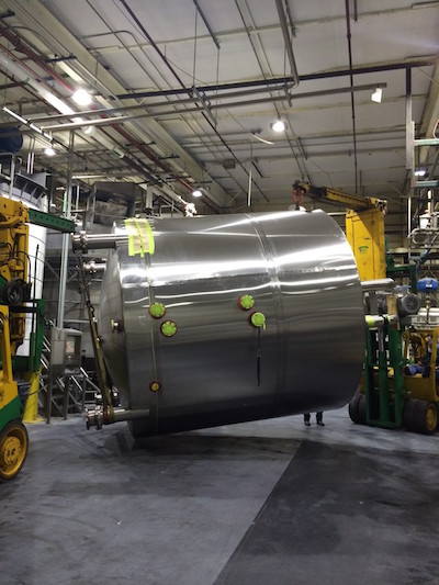 A vessel tank being repaired by Sharpsville Container technicians