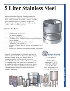 Brochure for 5 Liter Stainless Steel Containers
