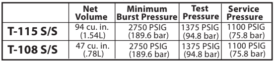 T-115 and T-108 Reactive Gas Cylinder Specs